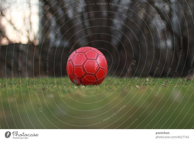 ein roter fußball liegt auf einer grünen wiese. freizeitsport liegen mannschaftssport kinderspiel Freizeit & Hobby Ballsport