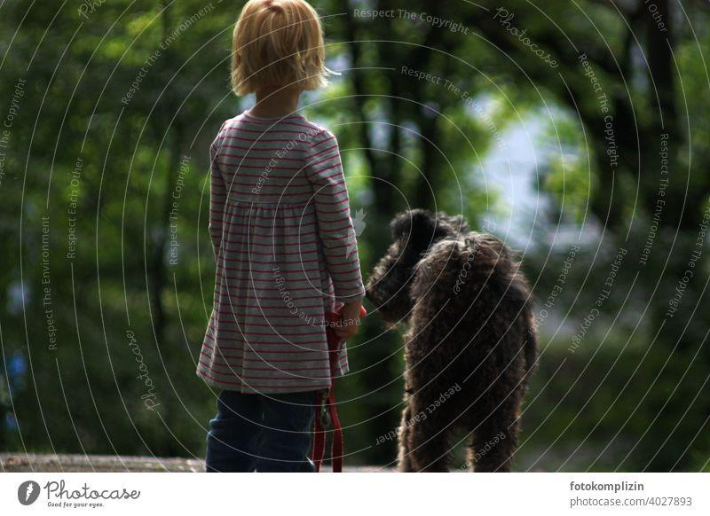 Rückenansicht von Kind und Hund rausgehen warten schauen Kleinkind Kindheit Kindererziehung kindlich jung niedlich klein Kind sein Vorschulkind Tierliebe