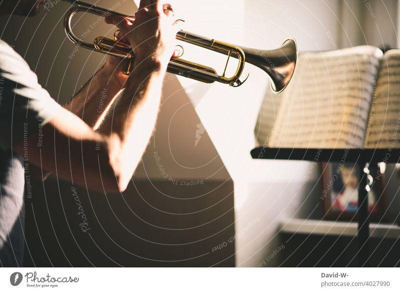 Mann studiert sein Instrument und spielt Noten vom Notenständer ab Musiker Trompete Musikinstrument ehrgeizig üben lernen Weiterbildung Student studieren hobby