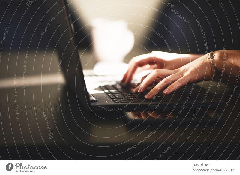 Frau arbeitet an einem Laptop Notebook Arbeitsplatz online Technik & Technologie Internet Arbeiten am Arbeitsplatz Tippen Arbeiten zu Hause digital Hände
