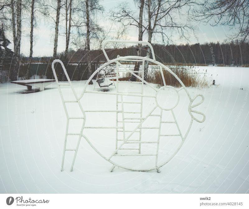 Sozialistischer Realismus Klettergerüst DDR-Vergangenheit retro früher stabil Metall weiß Tarnung Schnee Schneedecke Winter Wintertag Spielplatz verwaist leer