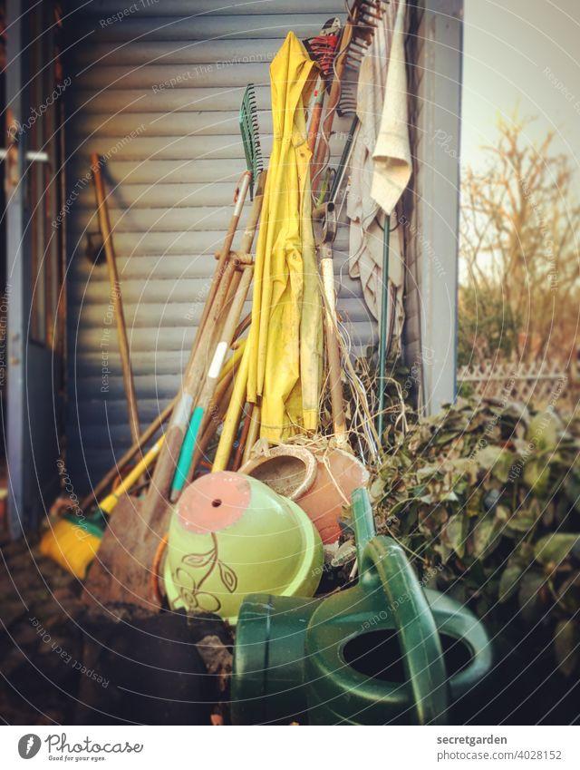 Ab durch die Hecke! Gartenarbeit Gartenzaun Gartenhaus Schrebergarten Gießkanne Außenaufnahme Geräteschuppen Harke Tontopf Natur Freizeit & Hobby Sommer