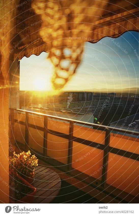 Flutlicht Plattenbau Haus Hochhaus Stadtrand Kleinstadt bevölkert Sonne leuchten strahlend Gebäude Gegenlicht Mauer Wand Fassade friedlich Sonnenaufgang