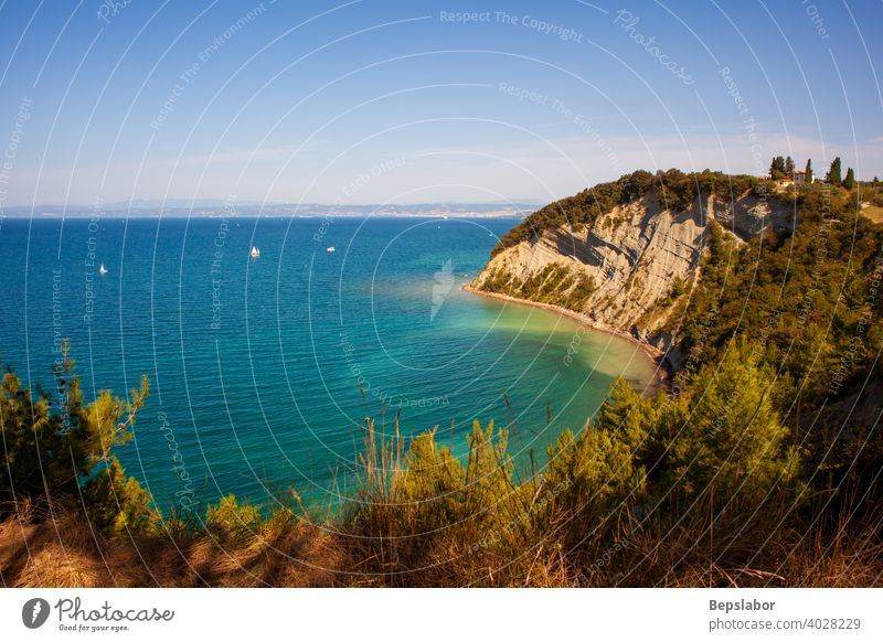 Strunjan Klippe an der Küste linę von Slowenien. strunjan Adria reisen Sommer Bucht Strand MEER Ufer Einfachheit horizontal sehen lebhaft spielend Erholung