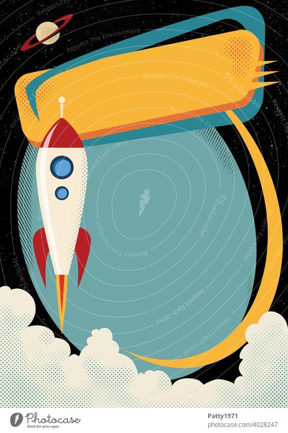 Startende Retro cartoon Rakete mit Rasterdruck/Halftone Effekt Cartoon Mid Century Textfreiraum Schild Grafik u. Illustration Comic Design mehrfarbig