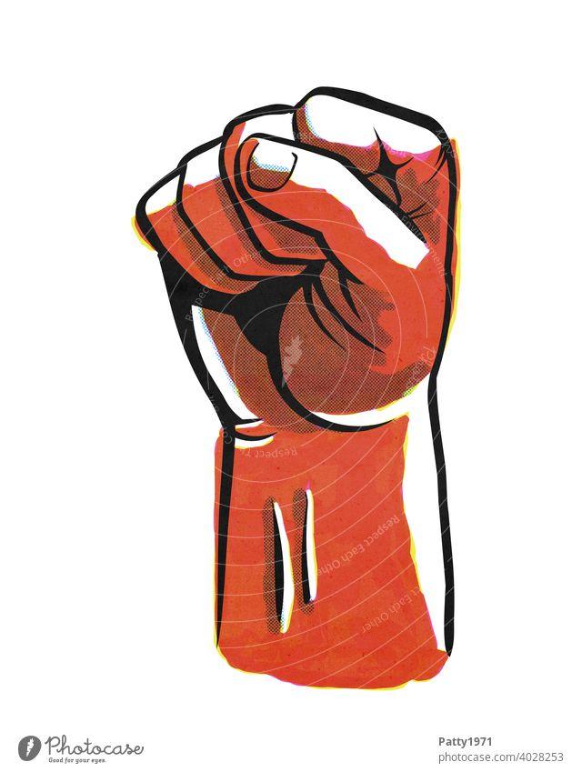 Abstrakte Illustration einer geballten Faust Hand Protest Wut Kraft Gewalt Aggression Mensch abstrakt Gefühle Konzept kämpfen orange Erwachsene Hass Ärger