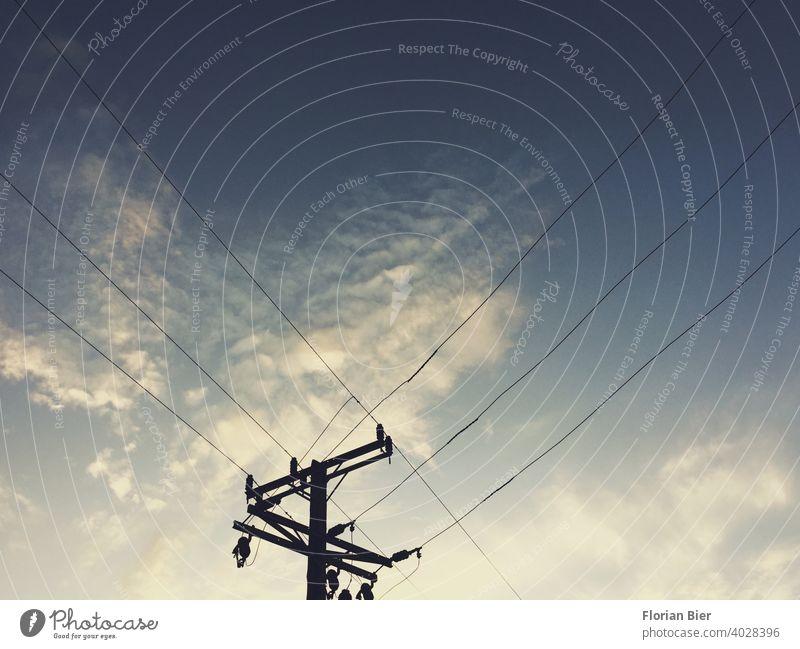 Silhoutte eines Strommasten mit Stromleitungen vor einem Wolkenhimmel beim Sonnenuntergang Stromverbrauch Elektrizität Energiewirtschaft Hochspannungsleitung