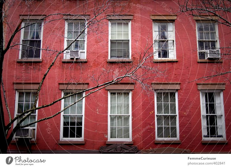 NYC (II) Architektur Stadt Hauptstadt Haus Einfamilienhaus Traumhaus Gebäude Mauer Wand Mittelstand Idylle Fassade rot Baum Ast Fenster New York City