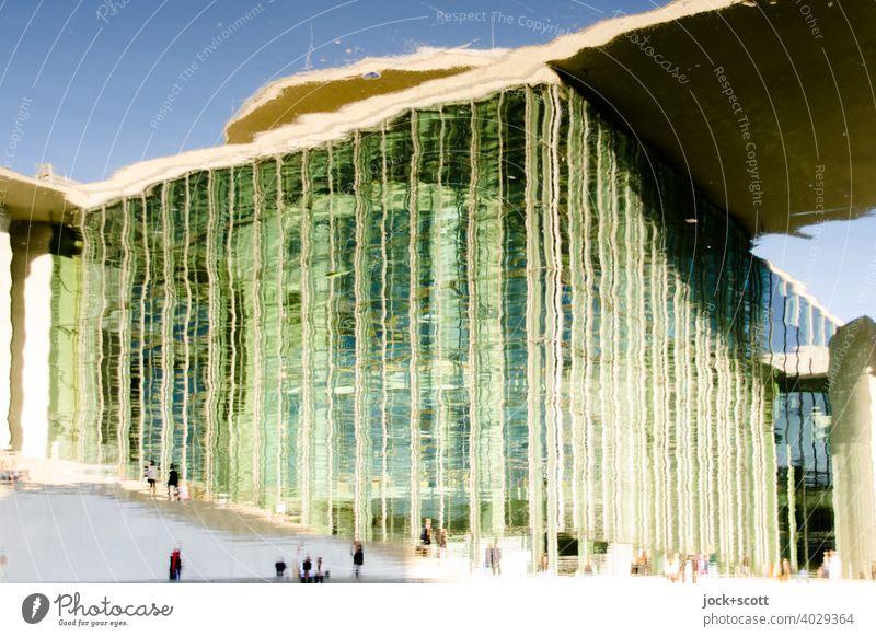 Spreebogen reflektiert moderne Architektur Marie-Elisabeth-Lüders-Haus Moderne Architektur Fassade Wasseroberfläche Reflexion & Spiegelung Deutschland
