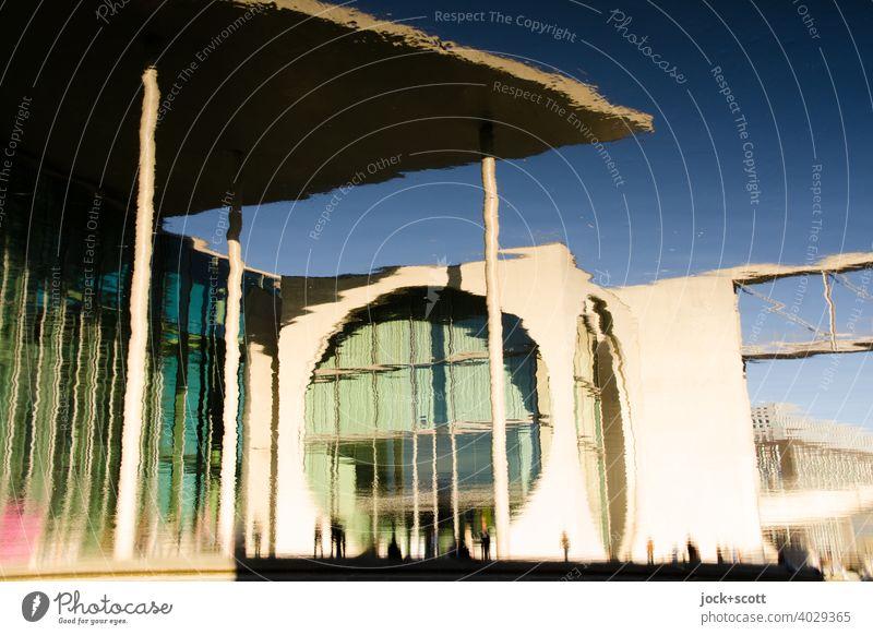 Spreebogen reflektiert Parlament Marie-Elisabeth-Lüders-Haus Moderne Architektur Fassade Wasseroberfläche Reflexion & Spiegelung Deutschland Hauptstadt Berlin