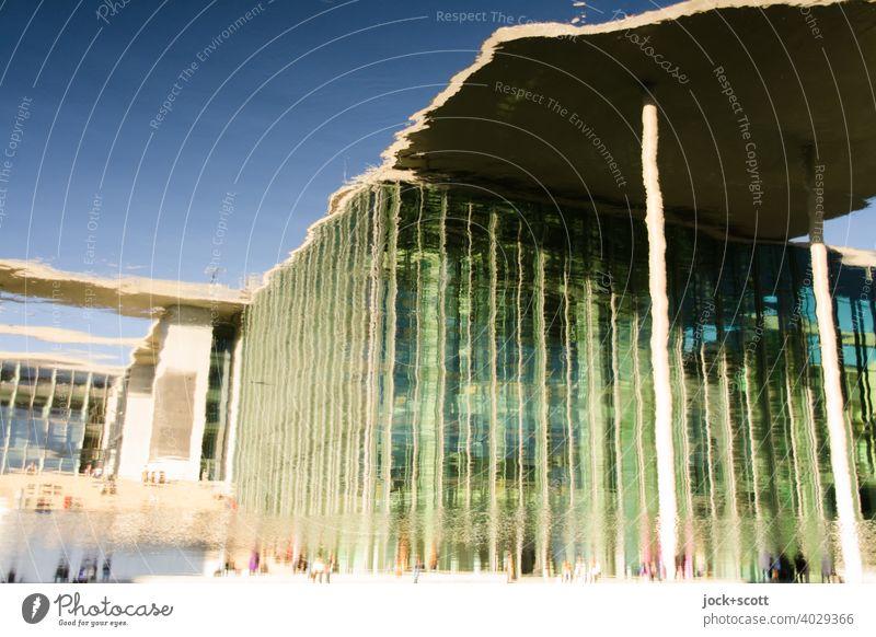 Spreebogen reflektiert hohes Haus Marie-Elisabeth-Lüders-Haus Moderne Architektur Wasseroberfläche Reflexion & Spiegelung Hauptstadt Berlin Deutschland