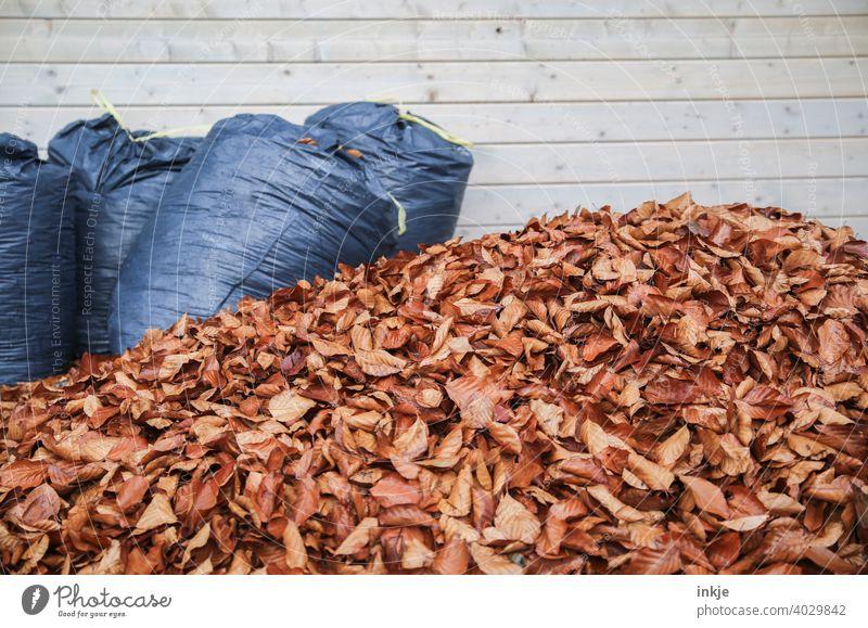 Frühjahrsputz Farbfoto Außenaufnahme Menschenleer Laubhaufen Herbst Frühling Gartenarbeit verwelkt Müllsäcke braun blau Textfreiraum Natur Blätter Herbstlaub