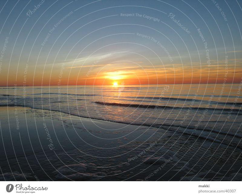 Sonnenuntergang Meer Strand Europa Romantik Abenddämmerung Rømø