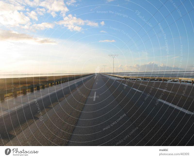 endloseStrasse Straße Europa Insel Unendlichkeit gerade Überfahrt Rømø