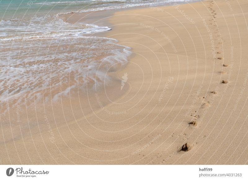 Fußspuren im Sand am Strand - leicht plätschern die Wellen an Land Sandstrand Brandung seichtes Wasser Wellengang Meer Horizont Küste Tag Gischt Erholung Insel