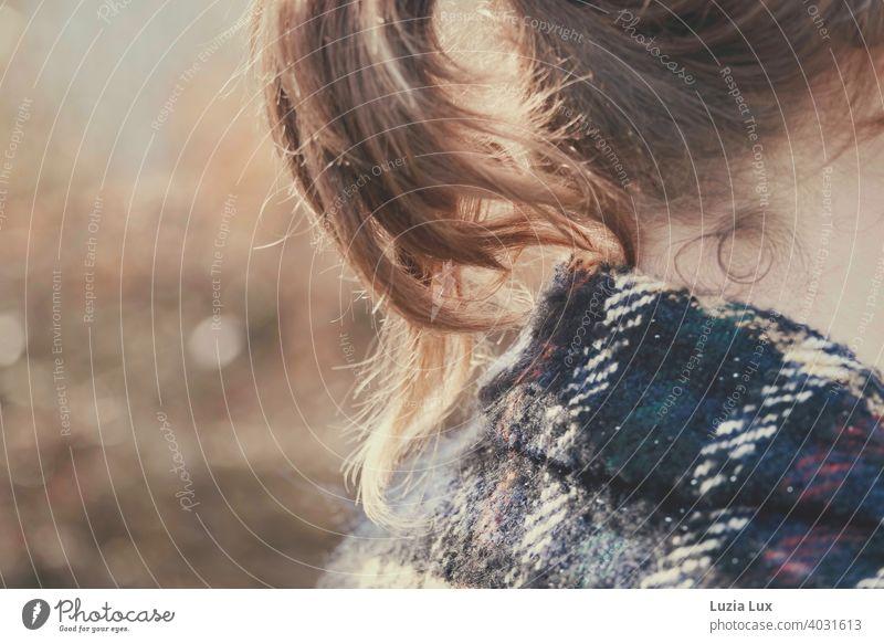 Pferdeschwanz, angeschnitten: blonde Locken im Nacken einer jungen Frau. Dazu der Kragen eines karierten Mantels und Sonnenschein. hübsch leuchtend goldblond