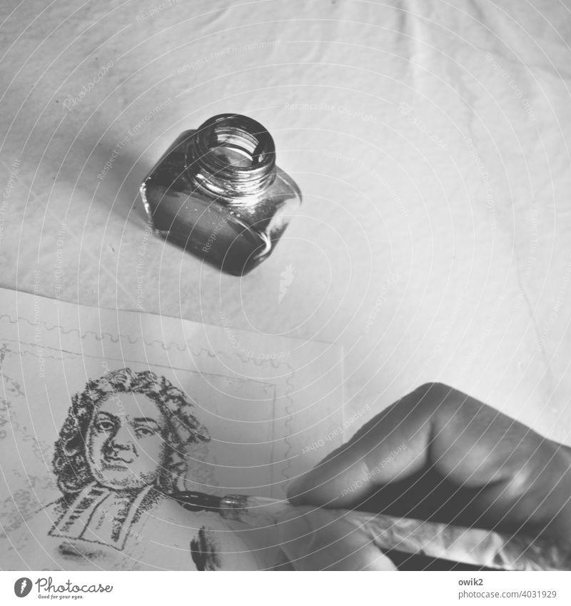 Frommer Mann Gesicht Kopf Person Persönichkeit Geschichte Mission Indien Nissionar Pfarrer früher Vergangenheit Kirchengeschichte Zeichnung Porträt akribisch