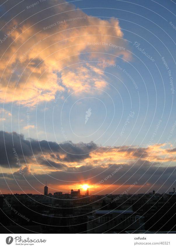 Sonnenuntergang Himmel Sonne Stadt Wolken Skyline Augsburg