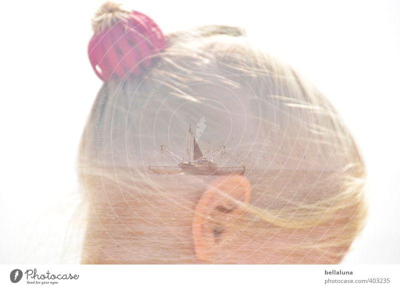 Sehnsucht Mensch feminin Kind Mädchen Kindheit Leben Kopf Haare & Frisuren Ohr 1 8-13 Jahre Himmel Wolkenloser Himmel Sonnenlicht Sommer Wellen Küste Strand