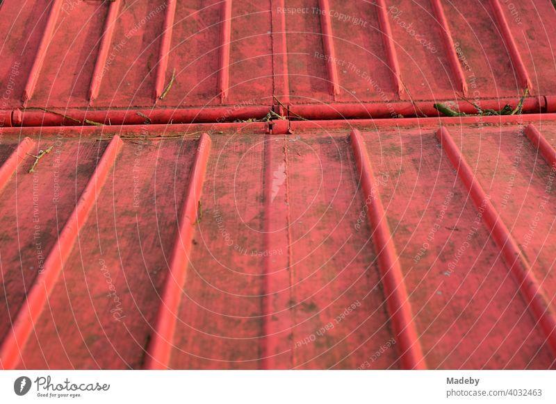 Verschmutzter leuchtend roter Deckel eines Müllcontainer in Lemgo in Ostwestfalen-Lippe Container Umwelt Entsorgung Rot Orangewrot Farbe Signalfarbe Leuchtfarbe