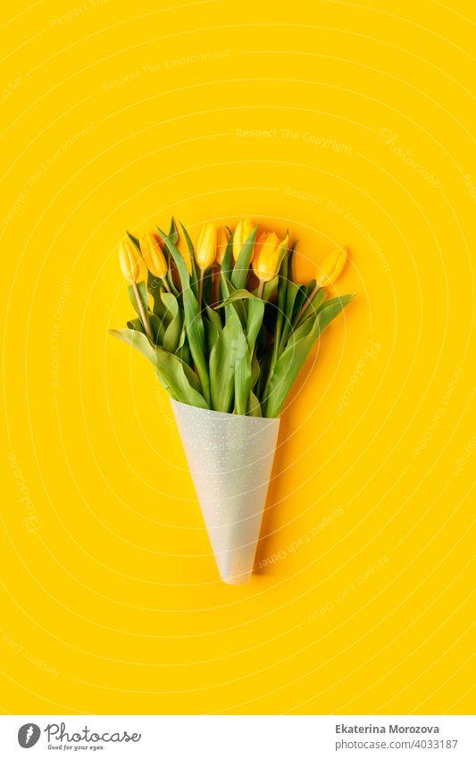 Gelber Tulpenblumenstrauß auf gelbem Hintergrund. Flachlage, Draufsicht, Kopierraum. Banner für saisonalen Urlaub, Frühlingskonzept, Internationaler Frauentag, 8. März, Frohe Ostern Grußkarte