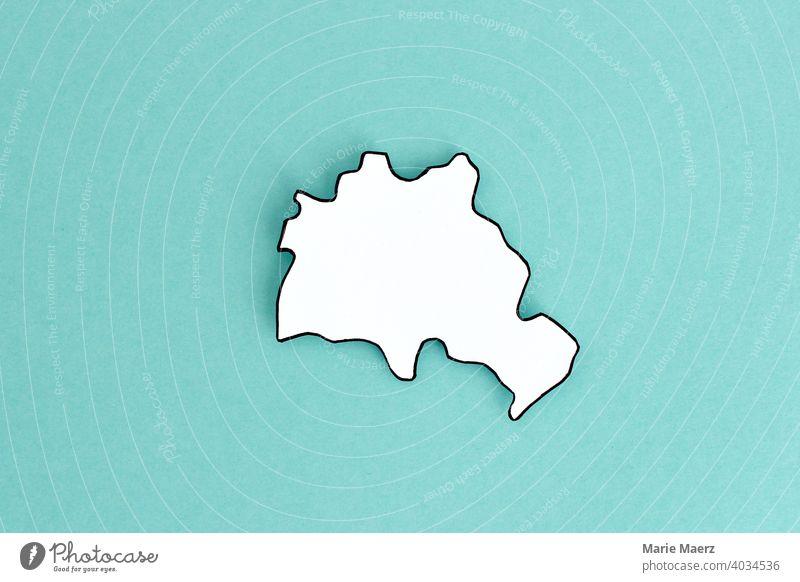 Bundesland/Stadtstaat Berlin als Papier-Silhouette Grenzen Landespolitik Hintergrundbild neutral Grafik u. Illustration Deutschland Hintergrund neutral