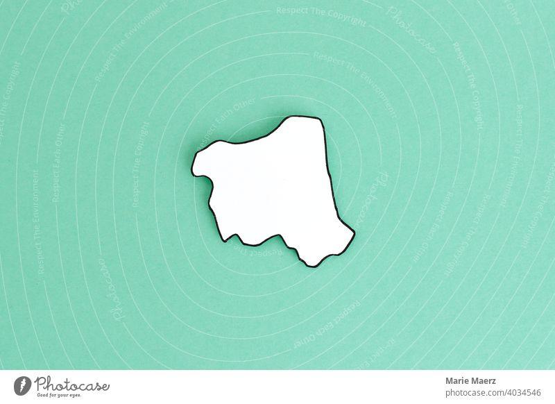 Bundesland/Stadtstaat Hamburg als Papier-Silhouette Strukturen & Formen Hintergrund neutral Design Papierschnitt weiß Grafik u. Illustration einfach