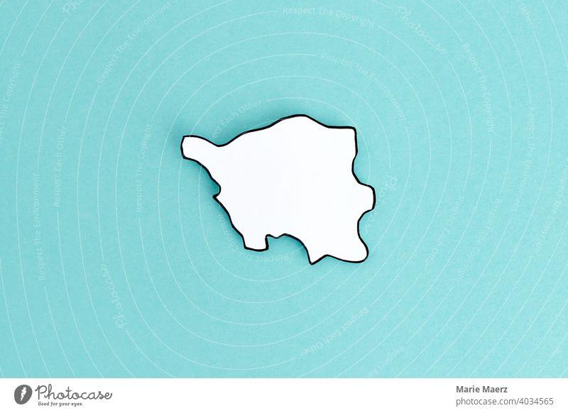 Bundesland Saarland als Papier-Silhouette Grenzen Umriss Landespolitik Karte Deutschland Papierschnitt minimalistisch Design Hintergrund neutral einfach