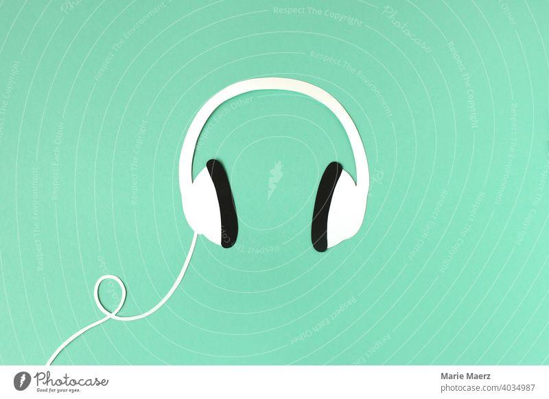 Kopfhörer Musik Audio hören Podcast Radio stylisch Grafik u. Illustration Hintergrund neutral papierschnitt modern Freizeit Lifestyle Klang abstrakt Silhouette