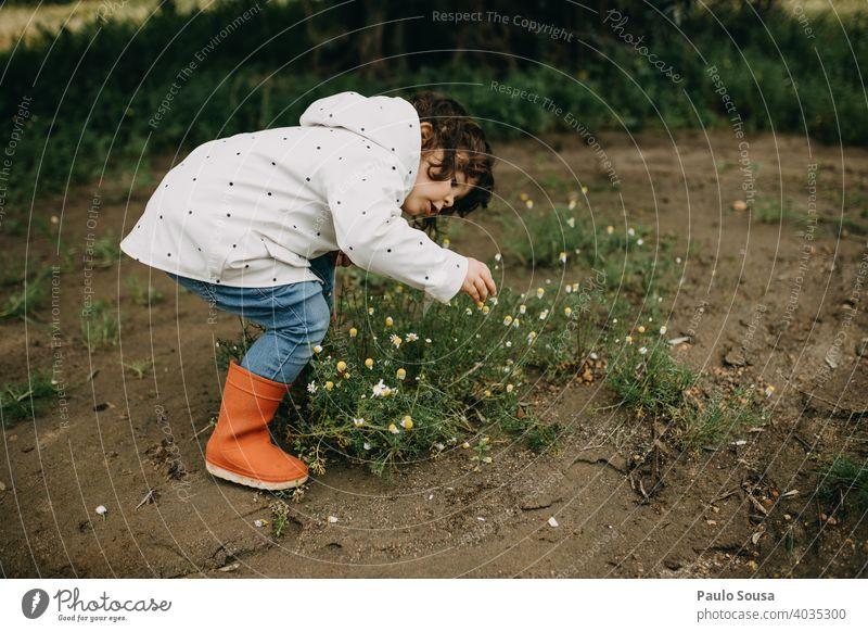 Kind pflückt Frühlingsblumen Frühlingsgefühle Kindheit Frühlingstag Blühend Tag Garten Blüte Außenaufnahme Pflanze Farbfoto Blume Natur Frühlingsfarbe grün
