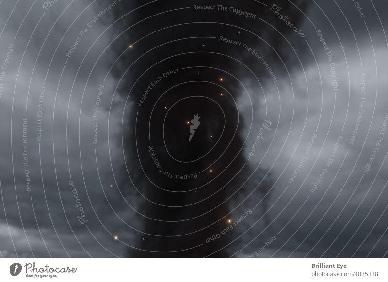 dicke graue Rauchwolken umgeben von glühenden Funken abstrakt Air Hintergrund schwarz lodernd Unschärfe Brandwunde Nahaufnahme Cloud Wolken Gefahr dunkel