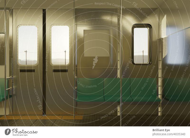leeres Zugabteil in der Abendsonne Arbeitsweg Hintergrund Tourismus Sonnenlicht Reise Kabine Innenbereich Sitz niemand Podest Station Eisenbahn Schiene Sitze