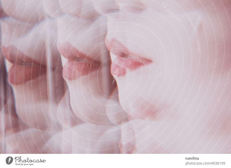 Verzerrtes Bild einer jungen Frau Gesicht Blick durch ein Prisma Schönheit abstrakt Lippen Make-up zusammenstellen Reflexion & Spiegelung reflektiert Verzerrung