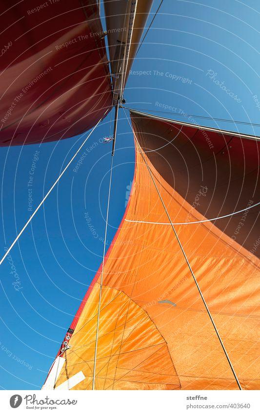 Ins Wochenende segeln Schifffahrt Bootsfahrt Jacht Segelboot Segelschiff Abenteuer Erholung Freiheit Ferien & Urlaub & Reisen orange Segeln Farbfoto