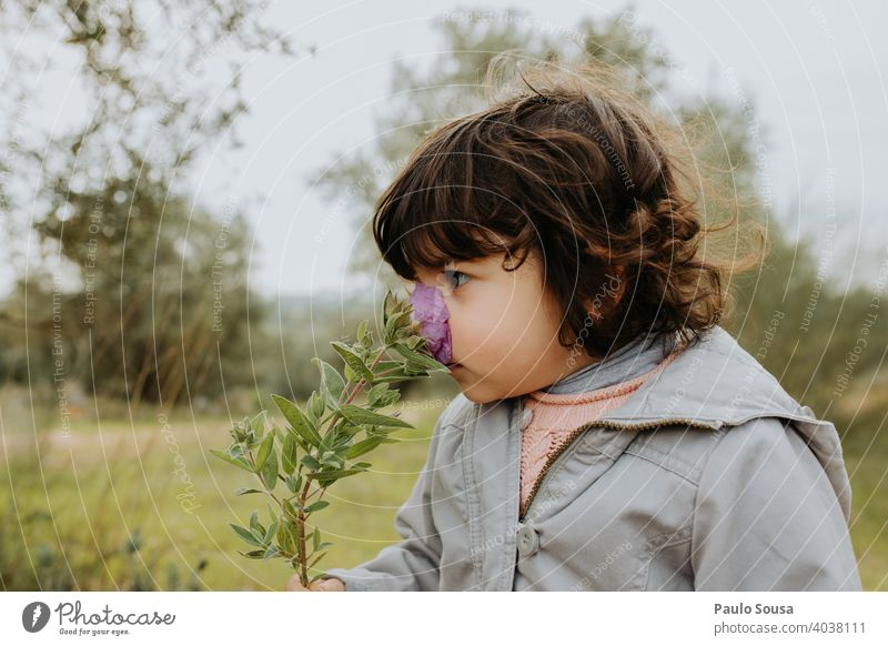 Kind riecht wilde Blume riechen riechend Kindheit 1-3 Jahre Kaukasier Neugier Bildung Leben Glück Spielen Tag Kindheitserinnerung Freizeit & Hobby Farbfoto