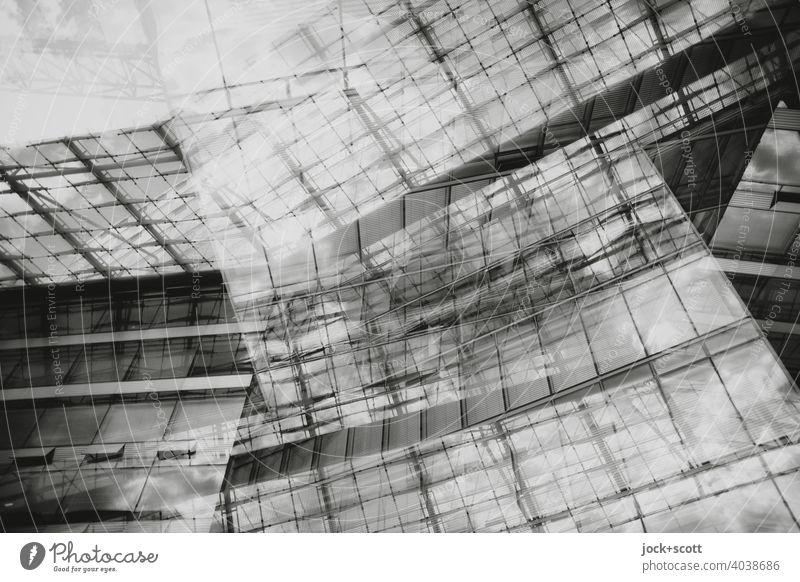 Abstrakte Architektur II Moderne Architektur Strukturen & Formen Glasfassade Linie Doppelbelichtung Reaktionen u. Effekte abstrakt Design Silhouette