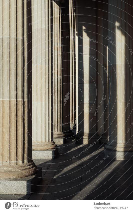 Dorische Säulen des Brandenburger Tors mit Sonnenlicht und Schatten dorisch Licht Berlin Hauptstadt Sehenswürdigkeit Denkmal Wahrzeichen Deutschland Architektur