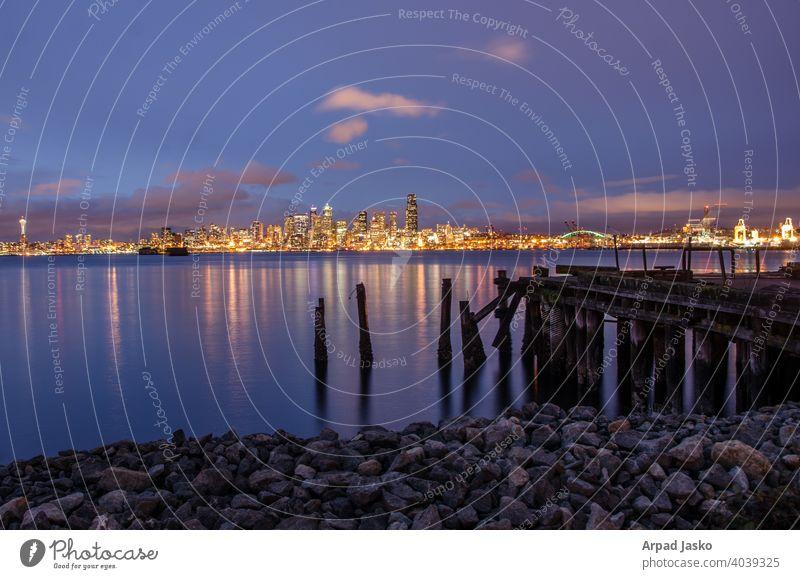 Seattle Blue Hour Skyline Stadtbild Landschaft Seelandschaft Meereslandschaft