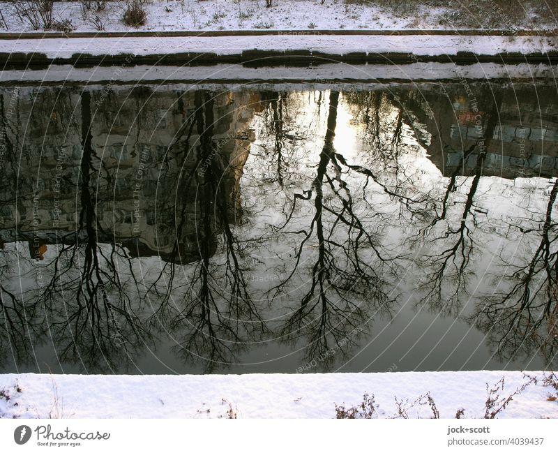 Der winterliche Landwehrkanal spiegelt Formen und Licht Winter Schnee Sonnenlicht Reflexion & Spiegelung Natur Berlin Wasseroberfläche Lichterscheinung