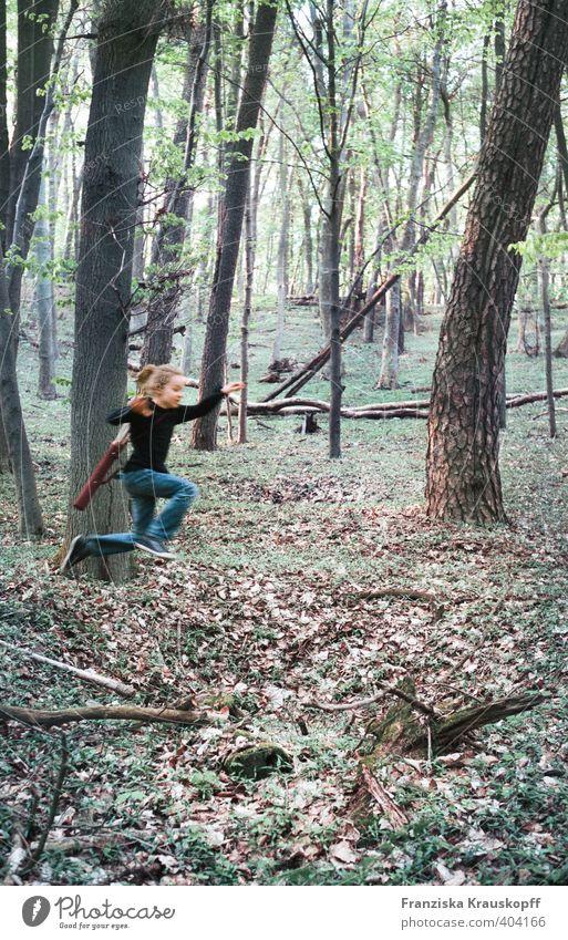 Jäger Mensch Kind Natur blau grün Pflanze Baum Freude Wald Umwelt Sport Herbst Spielen Junge Glück springen