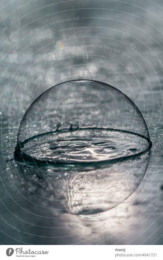 Die halbe Seifenblase spiegelt sich in der nassen Fläche und bildet auf diese Art wieder eine Ganze. glänzend durchsichtig eigenartig Experiment Vergänglichkeit
