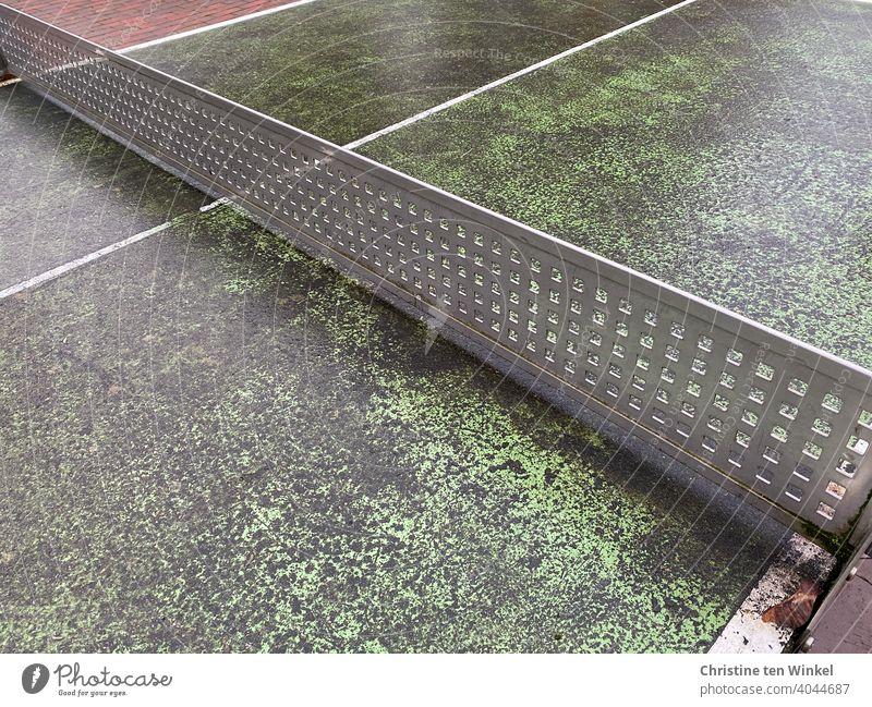 Alte abgenutzte Tischtennisplatte im Freien Tischtennisnetz alt Abtrennung Sport Freizeit & Hobby Grenze Abgrenzung Netz Linie Ballsport grau grün Spielen