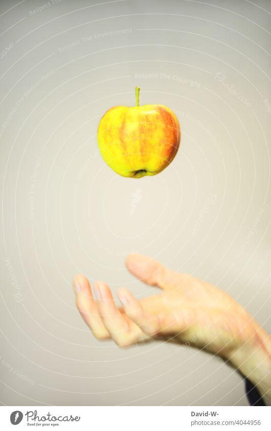 Gesunde Ernährung - Apfel Vitamine Obst lecker Frucht Diät Lebensmittel Gesundheit Hand gesund