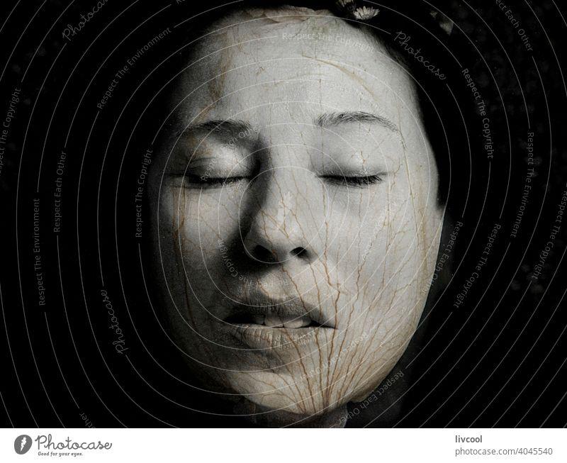 Porträt einer reifen Frau mit Rosenblatt verschmolzen schön Roséwein Blume attraktiv Linie grünäugige Frau Hautfalten grüne Augen Stil Verlockung Kringel Selfie