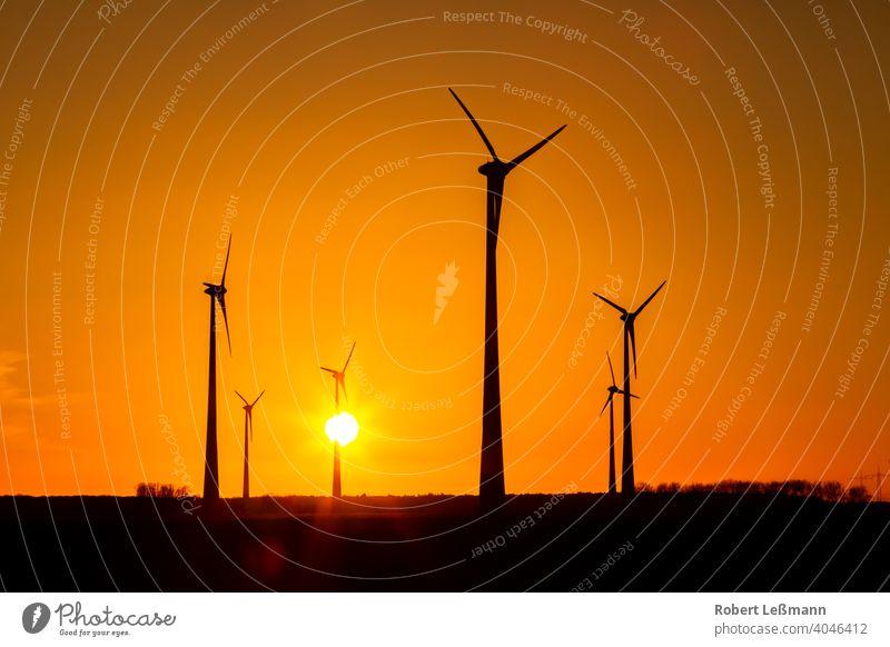 viele Windräder bei Sonnenuntergang stehen auf einem Feld und produzieren Strom windräder ökostrom umweltfreundlich klimaschutz abendrot sonnenuntergang