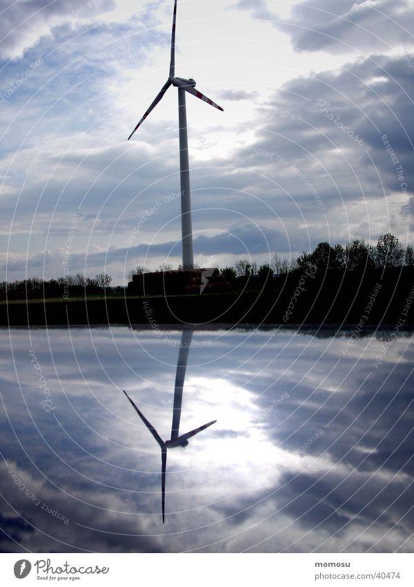 spiegelung Himmel Feld Industrie Windkraftanlage