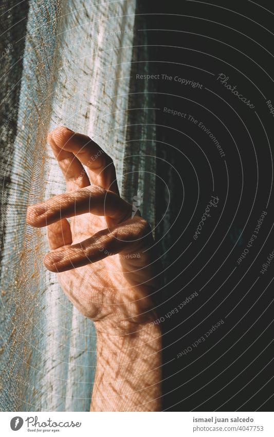 Mann Hand gestikuliert in den Schatten Licht Sonnenlicht Silhouette Finger Handfläche Körperteil Handgelenk Arme Haut Person gestikulieren Konzept Symbol