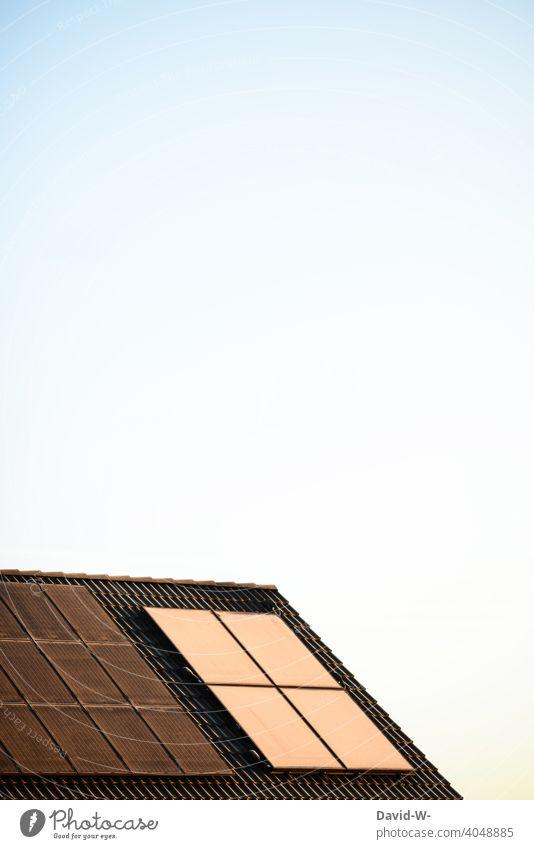 Solarzellen / Photovoltaik auf dem Dach angestrahlt vom Sonnenlicht fotovoltaikanlage lichtenergie Erneuerbare Energie umweltfreundlich Umweltschutz Klimaschutz