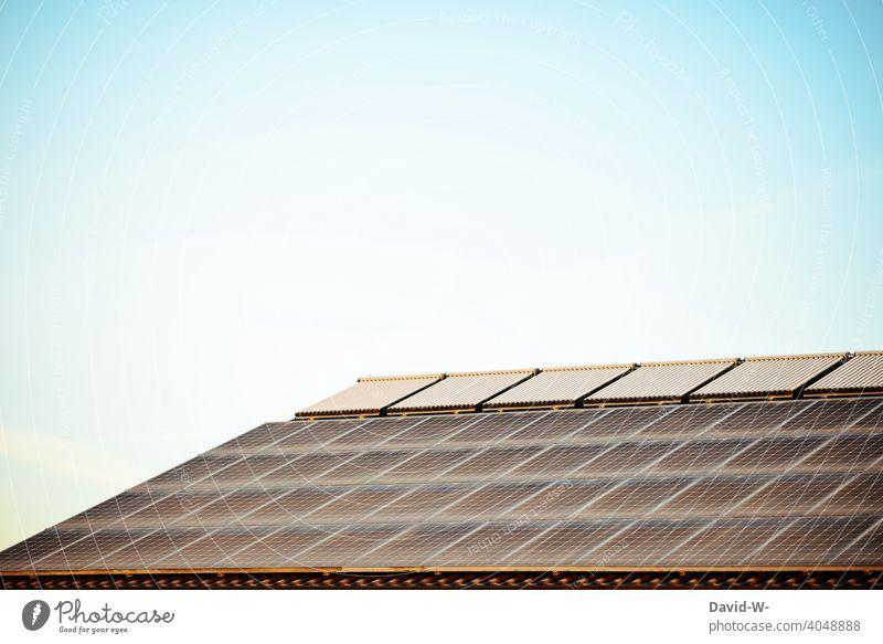 photovoltaikanlage - viele Solarmodule auf einem Dach Erneuerbare Energie Photovoltaik Klima wärmequelle enegiesparen umweltbewusst fotovoltaikanlage