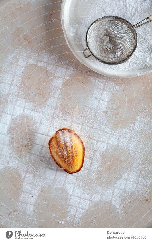 Ansicht von oben auf ein Muster aus mit Puderzucker bestäubten Madeleine-Kuchen mit einem Kuchen in der Mitte madeleine backen Lebensmittel hausgemacht süß